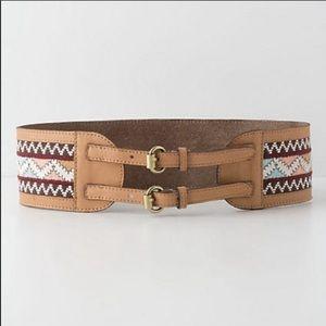 Anthropologie Zephyr Embroidered Corset Belt